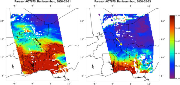 Examples of aerosol optical thickness (AOT) at 0.67μm retrieval during two consecutive POLDER/PARASOL observations on 21 and 23 February 2008 over an 1800×1800km area centered at the Banizoumbou, Niger, AERONET site (indicated by an arrow).